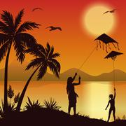 Stock Illustration of People with Kites on tropical beach