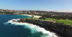 Coogee Beach Drone Stock Footage