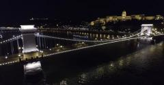 Aerial night view on beautiful bridges of Budapest Stock Footage