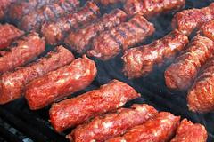 Romanian traditional sausages - stock photo