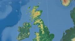 Falkirk - Scotland (United Kingdom) extruded. Bumps shaded Stock Footage