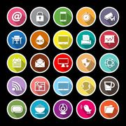Stock Illustration of Internet cafe flat icons with long shadow