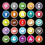 Easy meal flat icons with long shadow - stock illustration