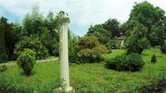 Greek columns in park Stock Footage