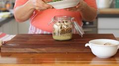 Vegetable chickpea saladd recipe Stock Footage
