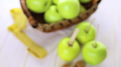 Apples ready to deeped in fresh caramel. Stock Footage