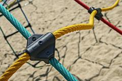 Colored ropes fastened together 1 Stock Photos