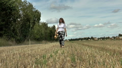 Pretty young woman walking and carrying guitar in a field. Stock Footage