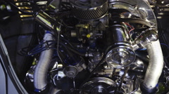 Retro car engine renovated zoom out close up 4K Stock Footage