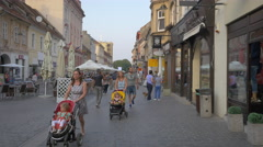 Walking on Republicii street, Brasov Stock Footage
