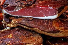 Pieces of smoked pork bacon-3 - stock photo