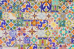 Morocco ceramic tiles style textures background - vintage filter effect Stock Photos