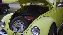 Retro car spare tire under the hood 4K Stock Footage