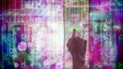 Hand checking an access code in a virtual panel Stock Footage