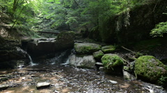 Waterfall in Ehrbachklamm of wild stream Ehrbach next to Mosel River. Stock Footage