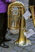 Trombone musical in pause Stock Photos