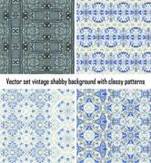 Vector set vintage background classical patterns - stock illustration