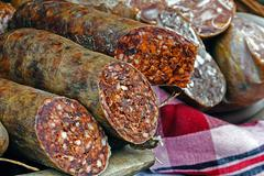 Traditional red sausage and aspic 2 Stock Photos