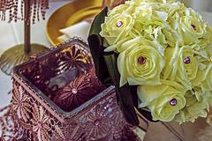Bridal bouquet of yellow roses and pink crystals - stock photo