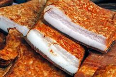 Pieces of smoked pork bacon-9 - stock photo