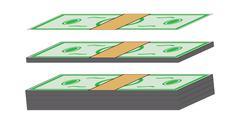 Cartoon money, dollar banknote, paper bill. Vector illustration isolated on w - stock illustration
