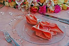 Arrangement for the wedding dinner party-7 Stock Photos