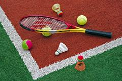Tennis balls, Badminton shuttlecocks & Racket-2 - stock photo