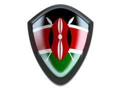 Kenya flag on metal shield isolate on white background. - stock illustration