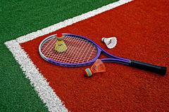 Badminton shuttlecocks & Racket-8 - stock photo