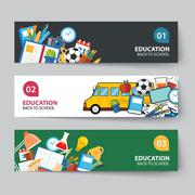 education and back to school banner concept flat design - stock illustration