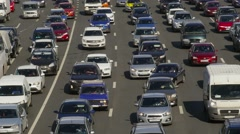 Traffic jam, dense slow flow of cars on a freeway, time-lapse. Stock Footage