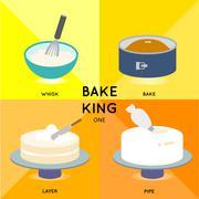 BAKE KING - CAKE SET - stock illustration