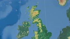 West Dunbartonshire - Scotland (United Kingdom) extruded. Bumps shaded Stock Footage