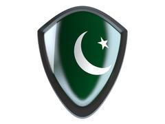 Pakistan flag on metal shield isolate on white background. - stock illustration