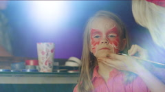 Children's Face Painting at Party Stock Footage