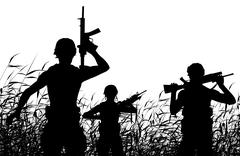 Soldier patrol silhouette - stock illustration