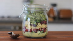 Perfect and tasty mason jar salad Stock Footage