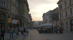 Republicii street at sunset, Brasov Stock Footage