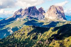 panoramic view of the Langkofel group, a massif in the Dolomites mountains - stock photo
