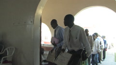 Stock Video Footage of Congregation Entering Traditional Church in Kitwe, Zambia