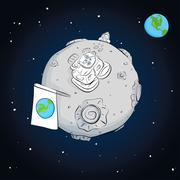 Astronaut with flag on the moon Stock Illustration