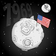 astronaut with flag USA on the moon bw - stock illustration