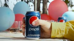 Pepsi can party editorial Stock Footage