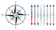 compass with similar arrows isolated - stock illustration