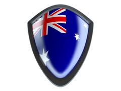 Australia flag on metal shield isolate on white background. - stock illustration