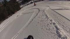 Rapid descent on a snowboard POV Stock Footage
