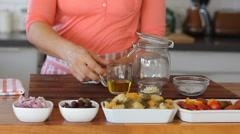 How to make Mason jar Pasta Salad Stock Footage