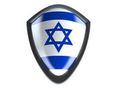 Israel flag on metal shield isolate on white background. - stock illustration