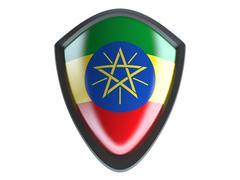 Ethiopia flag on metal shield isolate on white background. - stock illustration
