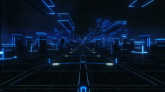 Flying over a magic world, blue lights. Loopable. Technology. Stock Footage